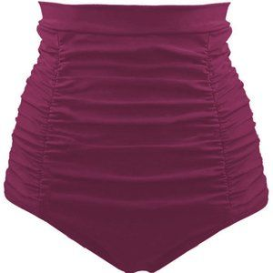 purple Retro High Waisted Swim Short